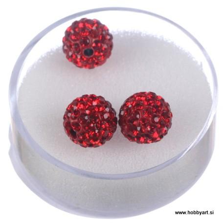 Shamballa perle s kristali, Rdeča 3 kosi