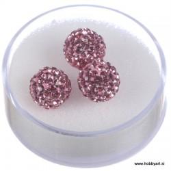 Shamballa perle s kristali, Roza 3 kosi