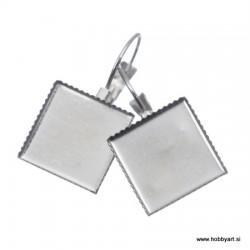 Uhani s kvadratno ploščico 12,5x12,5mm 2 kosa Platinasta b.