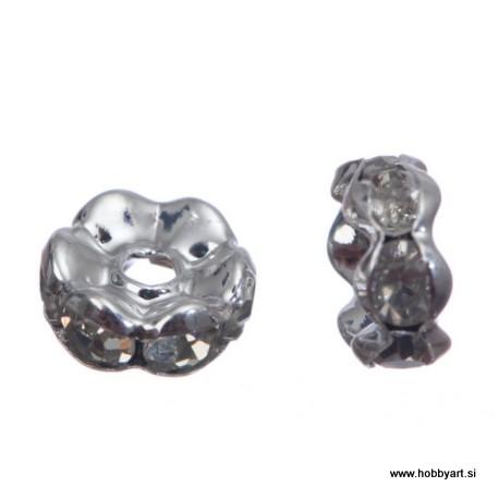 Kovinski obročki z biseri 8mm, 10 kosov